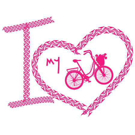 Pink print of I love bicycle made of tire track Stock Vector - 23498607