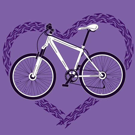 Background with speed bicycle and heart made of tire track Stock Vector - 23498622