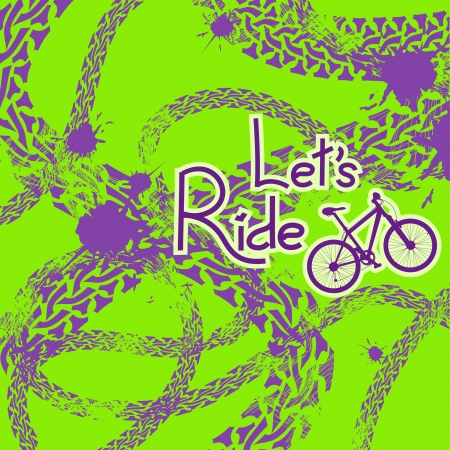 summer tires: Grunge tire track background with text lets ride