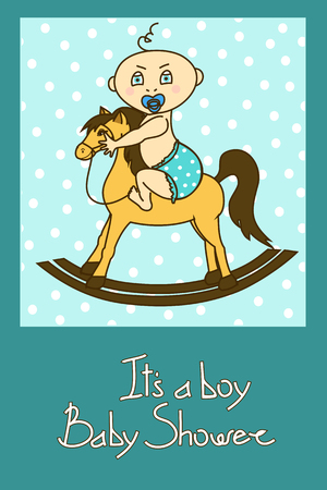 Baby shower invitation card with cute baby boy riding on a toy horse  Vector