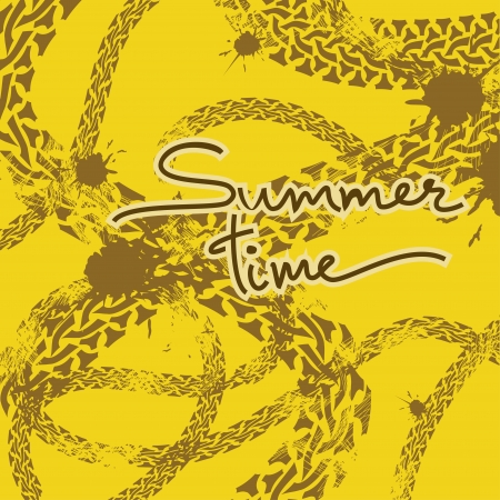 snaky: Grunge tire track background with text summer time Illustration