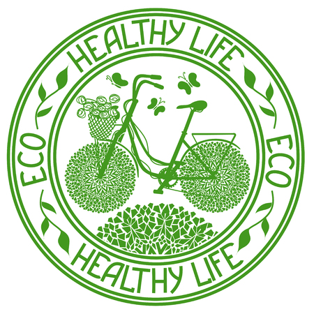 Ecological stamp with bicycle and text healthy life Vector