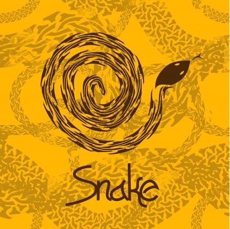snake calligraphy: Illustration of brown snake on a terrarium background Illustration