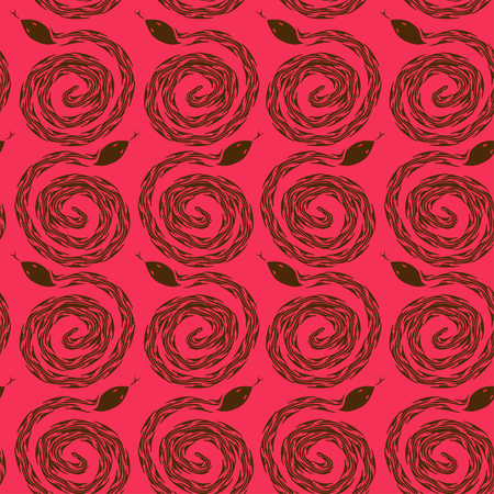 snake calligraphy: Seamless pattern of snakes on a red background