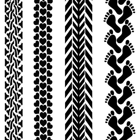 Seamless background of different black tracks Vector