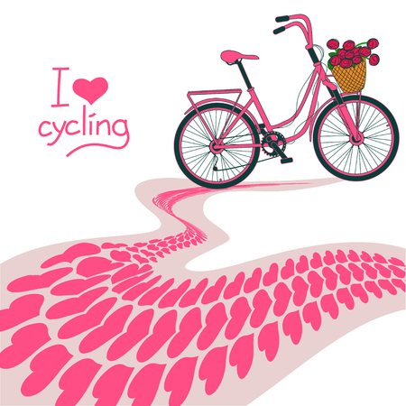 skidding: Illustration of pink  bicycle and heart track