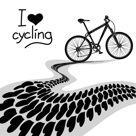 skid marks: Illustration of black  bicycle and heart track Illustration