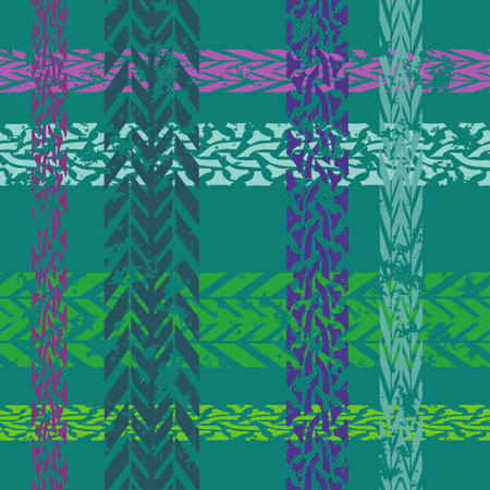 Seamless pattern of tire tracks on a turquoise background Vector