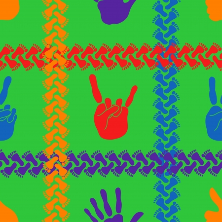 Seamless background of colorful handprints and footprints Vector