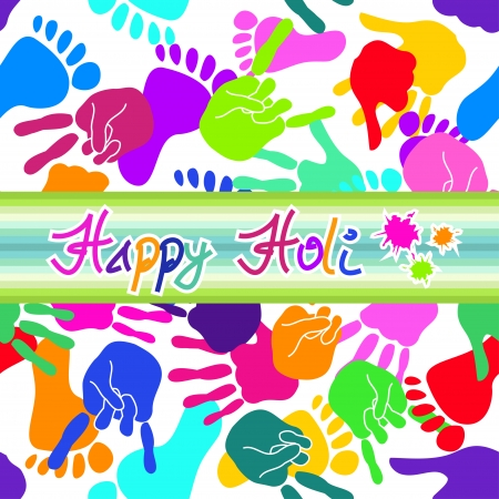 Colorful Happy Holi background with handprints and footprints Vector