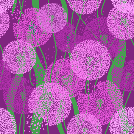 dandelion wind: Seamless pattern of purple dandelions