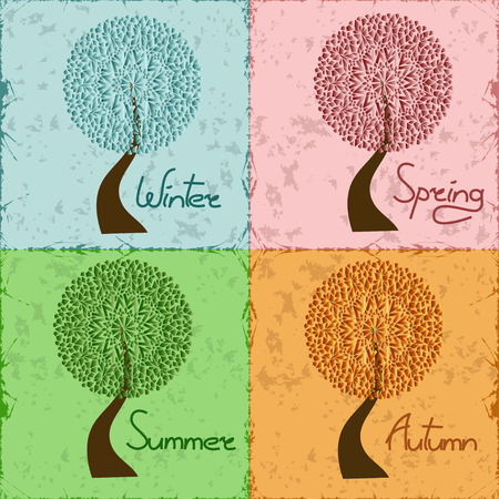 Tree with lacy upper branches in four season - winter, spring, summer, autumn Vector