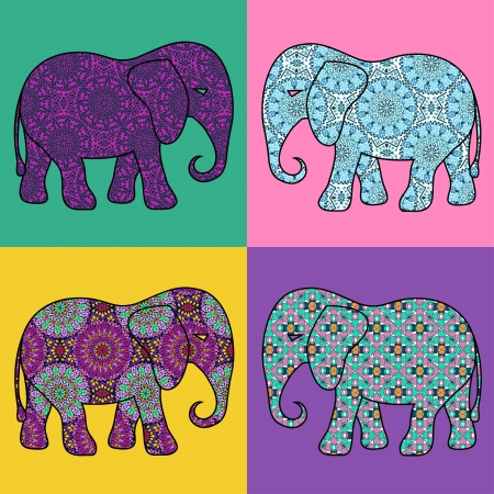 tessellated: Four isolated colorful mosaic patterned elephant