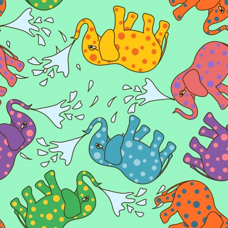 Seamless pattern of baby elephants taking a shower Vector