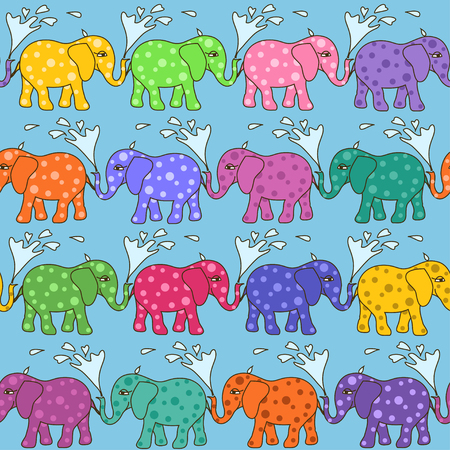 happy holi: Colorful seamless pattern of baby elephants taking a shower Illustration