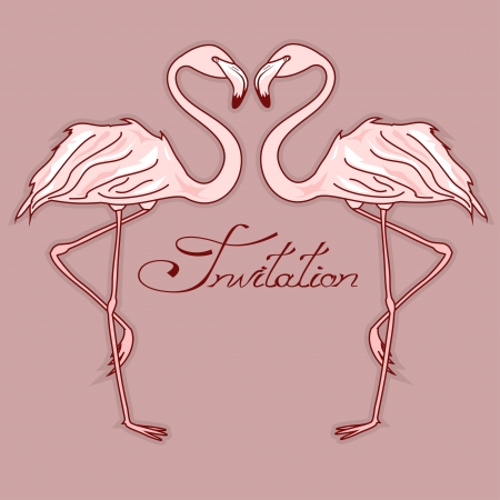 Invitation card with elegant flamingos Vector
