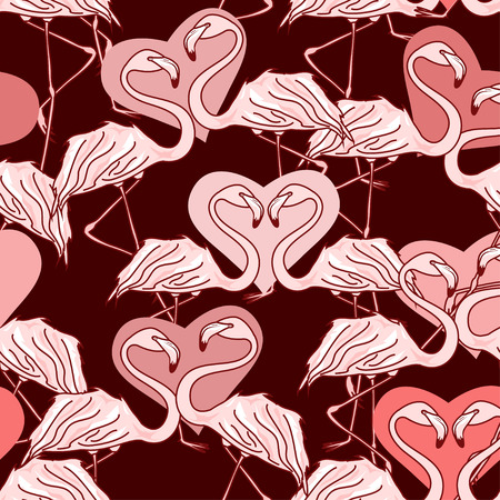 vinous: Seamless pattern of flamingos and hearts