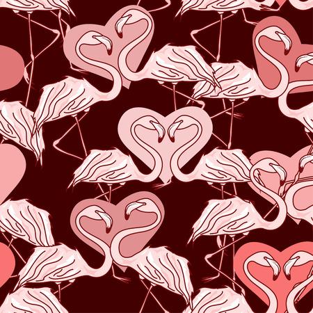 flamingos: Seamless pattern of flamingos and hearts