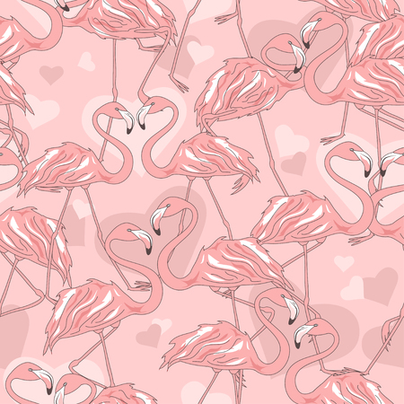 Seamless pattern of flamingos and hearts Vector