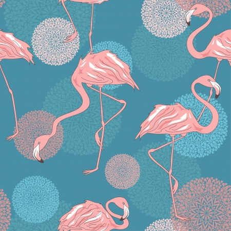 pink flamingo: Seamless pattern of elegance flamingos