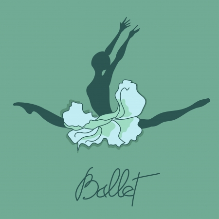 Illustration of ballet dancer with floral tutu