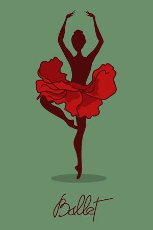 Illustration of ballet dancer with floral tutu