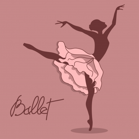 Illustration of ballet dancer with floral tutu Vector