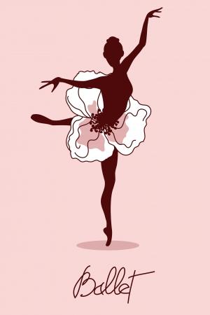 bailarina ballet: Ilustraci�n de la bailarina con tut� floral