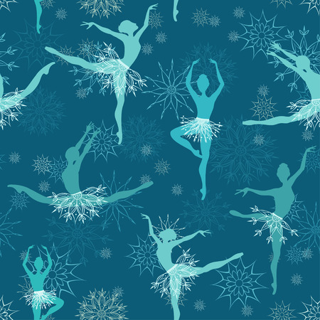 Seamless background of fancy snowflake ballet dancers Vector