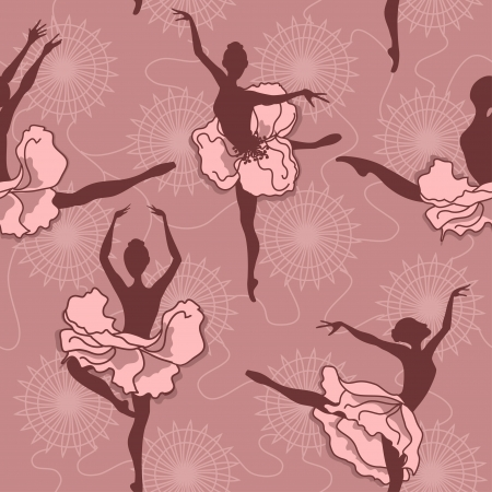 Seamless pattern of ballet dancers with floral tutus