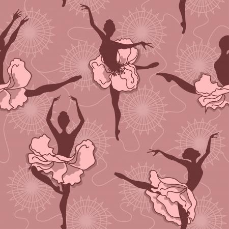 ballet tutu: Seamless pattern of ballet dancers with floral tutus