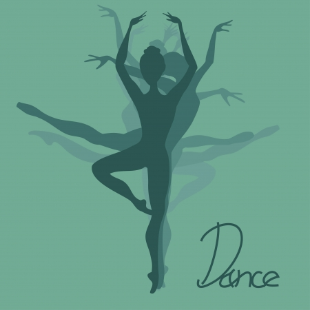 Illustration with silhouettes of ballet dancers  Vector