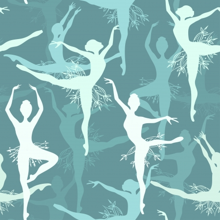 Seamless background of fancy snowflake ballet dancers