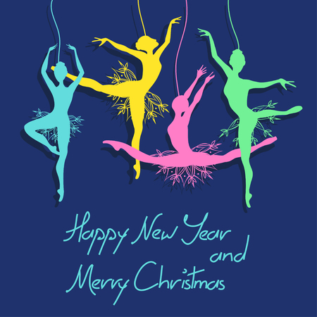 Christmas and New Year card with snowflake ballet dancers Vector
