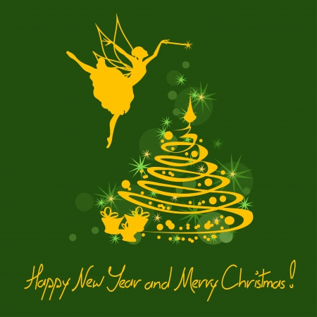 fairy tree: Christmas and New Year card with fairy, tree and greeting text