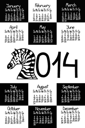 Calendar 2014 with zebra and comic handmade font Vector