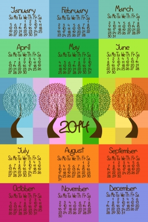 Colorful 2014 calendar with seasonal trees Vector