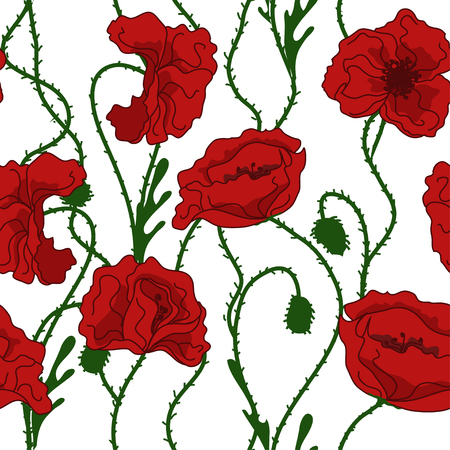 Seamless pattern of red poppy flowers Stock Vector - 23498834