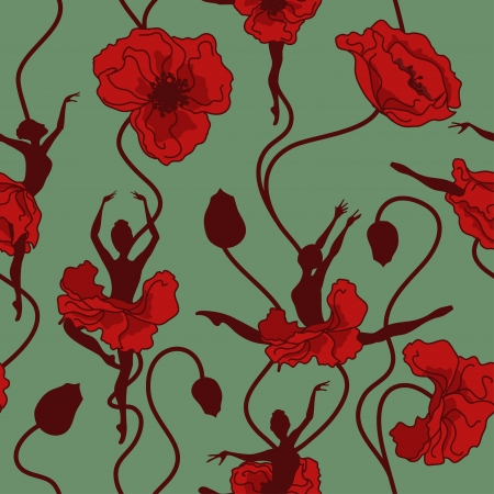 Seamless pattern of stylized dance of poppy flowers and ballerinas