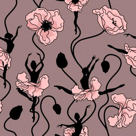 bolantes: Modelo inconsútil de la danza estilizada de flores y bailarinas Vectores