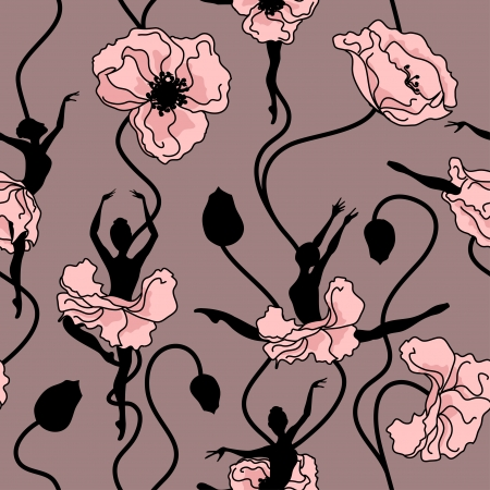 Seamless pattern of stylized dance of flowers and ballerinas