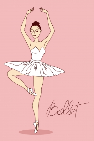 Illustration with ballet dancer in pose Vector
