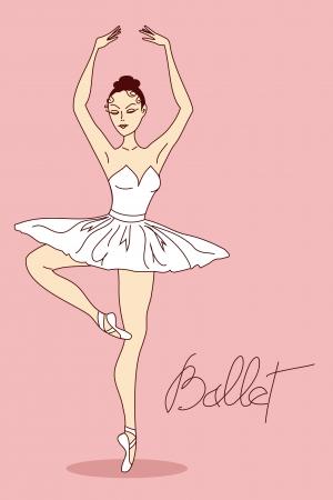 Illustration with ballet dancer in pose Ilustração Vetorial