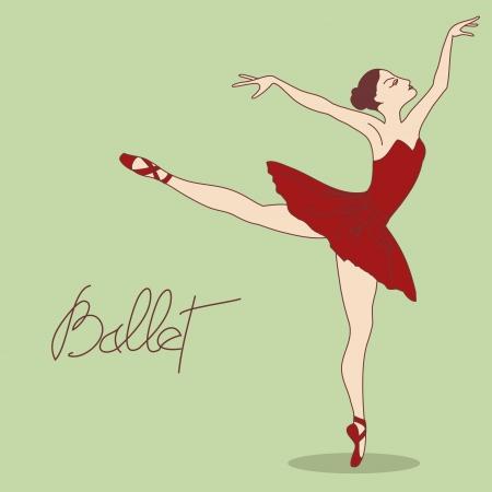 Illustration with ballet dancer in pose