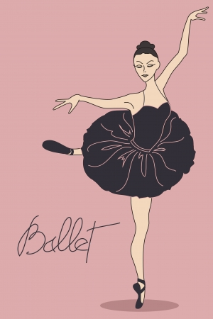 classical dancer: Illustration with ballet dancer in pose