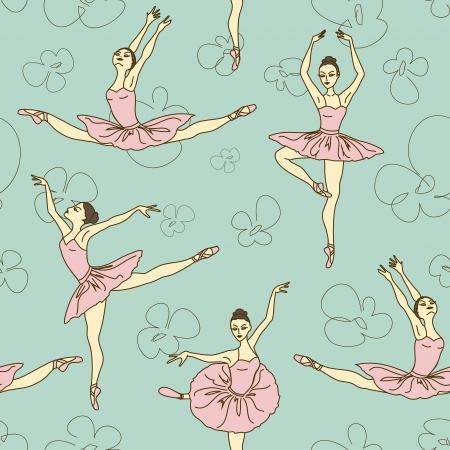 異なる姿勢でのバレエ ダンサーのシームレスなパターン  イラスト・ベクター素材