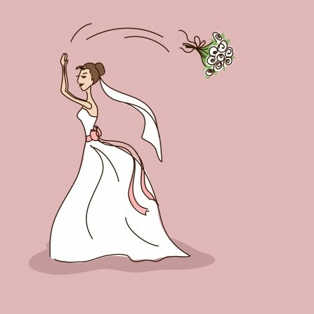 Bridal shower or wedding invitation with bride throwing a brides bouquet Vector