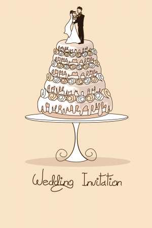 Wedding invitation with cake and bride and groom on the top Vector