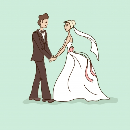 closeness: Wedding card with bride and groom holding hands Illustration