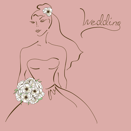 Wedding card with contour sketch of bride holding a bridal bouquet Vector